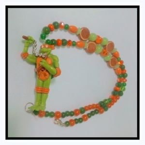 Teenage Mutant Ninja Turtle necklace Jade & Topaz